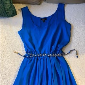Cerulean blue summer dress with gold chain belt